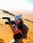 Filming in the Sahara Desert, near Ouarzazarte