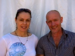 Kate Leeming and Eric Phillips outside the marquee