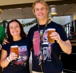 Lisa and Simon enjoying a cold beer in the Brewery