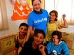 Meeting kids in one of UNICEF's Child-Friendly Spaces.